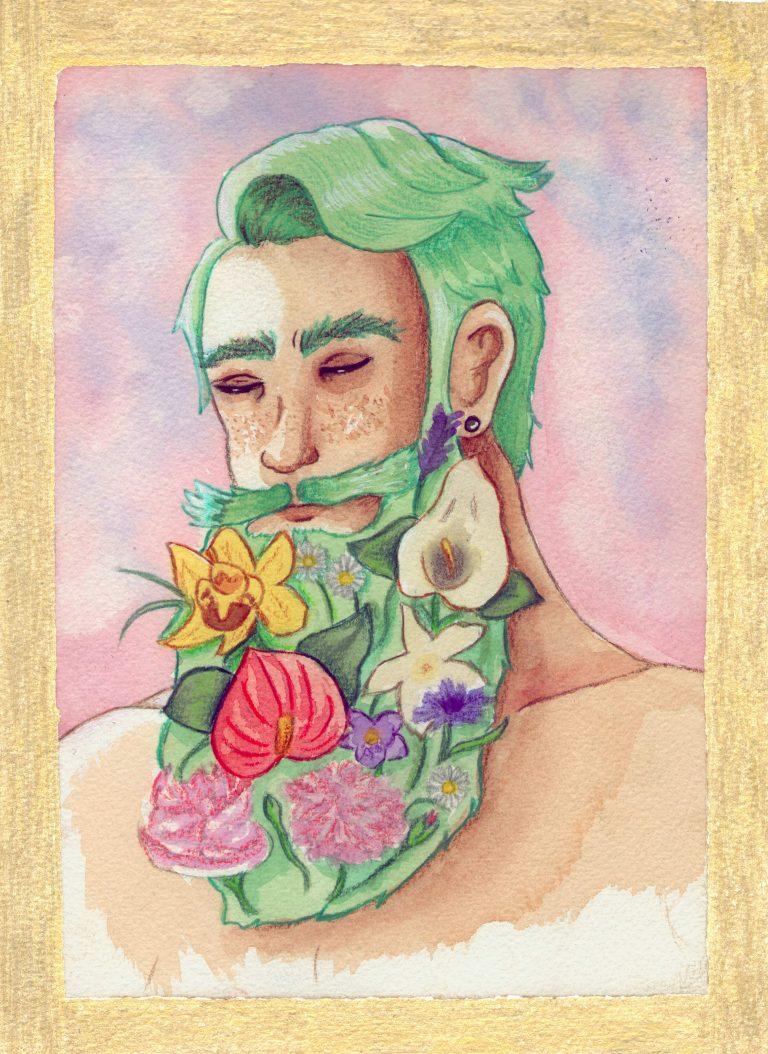 Portrait de jeune barbu à fleur